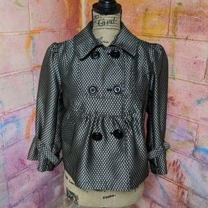 Gold & Black Print Puffy Pea Coat Blazer